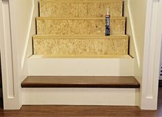 Stair re-do using false treads from Home Depot http://www.homedepot.com/p/t/202086455?catalogId=10053&langId=-1&keyword=stair+kit&storeId=10051&N=25ecodZ5yc1v&R=202086455#.UJ1h3YaNBkg