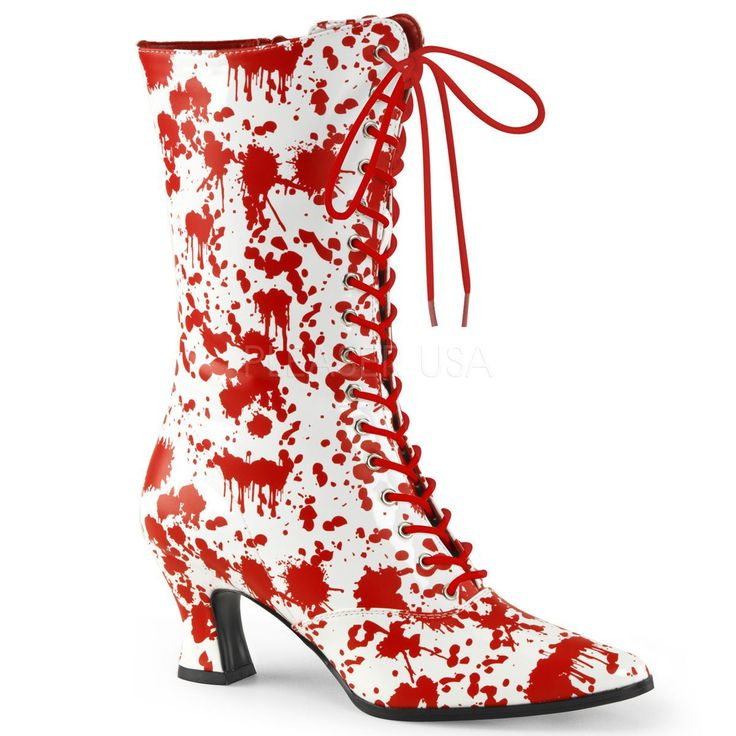 """Demonia 2.75"""" White/Red Shiny Blood Spatter Calf Boots Nurse Zombie Cosplay 6-12"""
