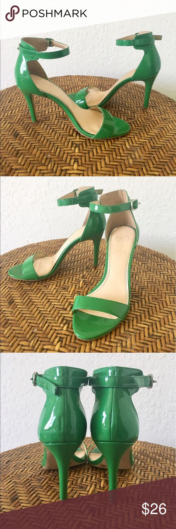 JS Green Strappy Heels Gorgeous Jessica Simpson Strappy Heels. So cute! Such a pretty green, perfect for that pop of color. Tiny hiccup on heel as pictured but barely noticeable. Worn once if that, great Condition! Jessica Simpson Shoes Heels