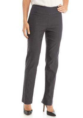 New Directions Women's Petite Woven Stretch Pant - Average Length - Grey - 4P