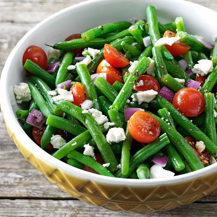 Balsamic Green Bean Salad Recipe -Serve up those green beans in a whole new way! The tangy flavors and crunch of this eye-appealing side complement any special meal or holiday potluck. —Megan Spencer, Farmington Hills, Michigan