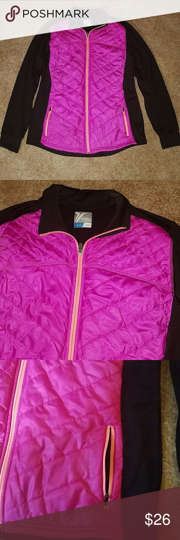 Women's Active Jacket Women's activewear jacket. Comfy and lightweight! Only worn a few times. Smoke free home. Front is bright pink and back is all black. Has two zipper pockets in front. Measures 28 inches long and 22 inches from armpit to armpit. Sleeves are 21 inches. Material is 100% polyester. Make an Offer!! Old Navy Jackets & Coats