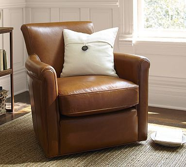 Irving Leather Swivel Armchair #potterybarn We bought these chairs and they are SPECTACULAR! I can't say enough good about them. Comfy, look great and they stand up to dogs.
