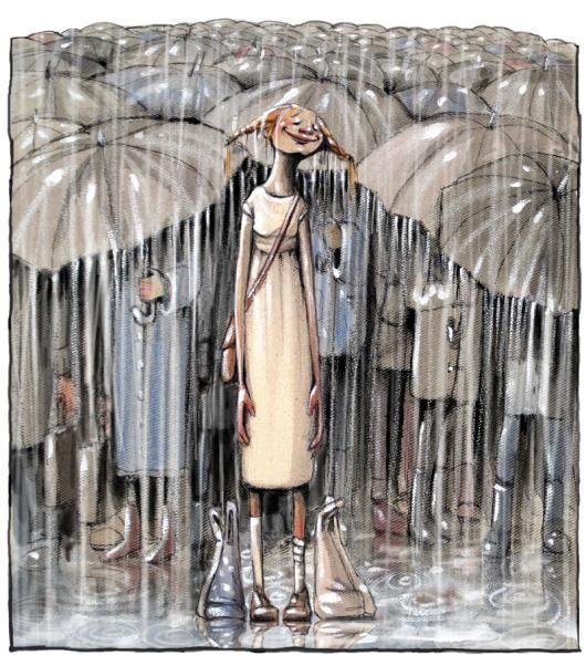 Blindsonen. Girl in the rain by Lisa Aisato from Norway