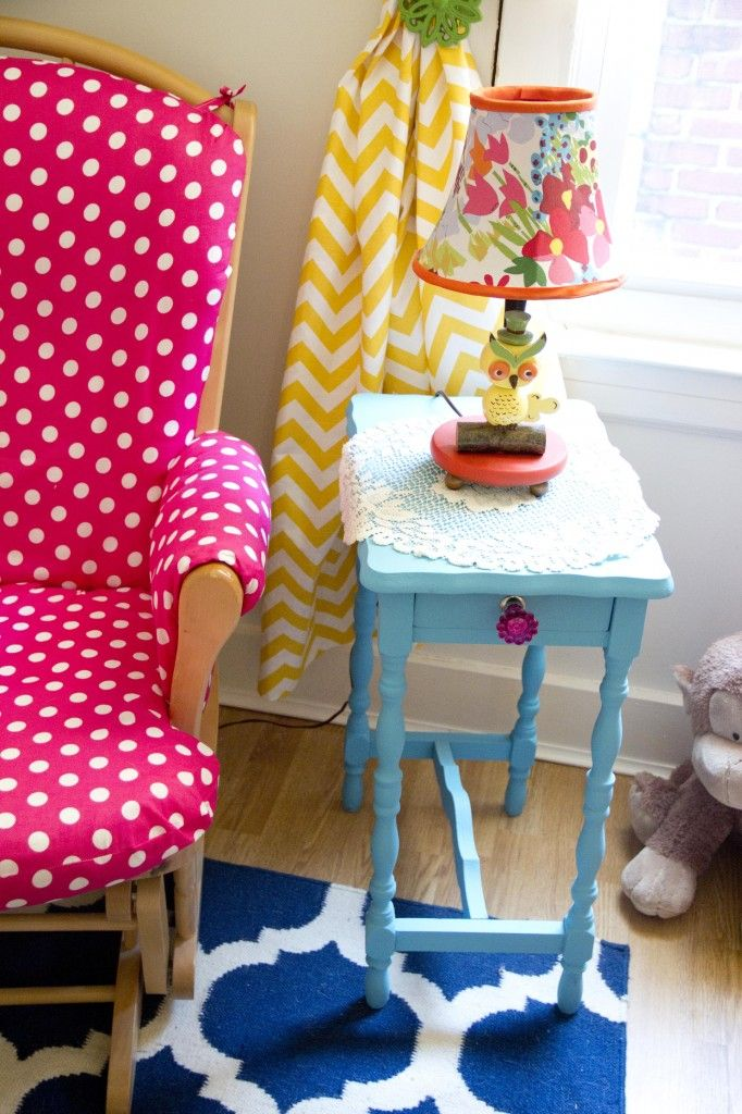 Bright colors look great in a #nursery, especially this #HotPink polka dot chair fabric.  #yellow