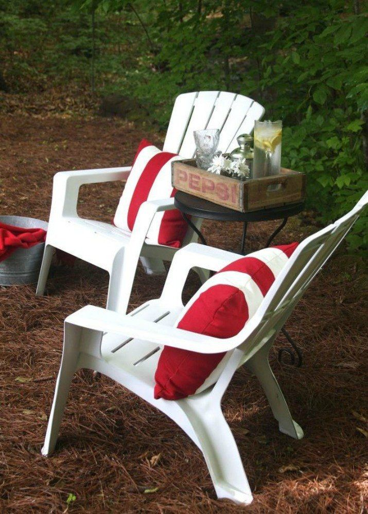 s when creative people need more backyard seating, outdoor furniture, They repaint old chairs