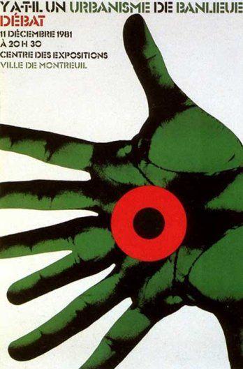"""1981 Roman Cieslewicz, """"Y a-t-il un urbanisme de banlieuE débat""""."""