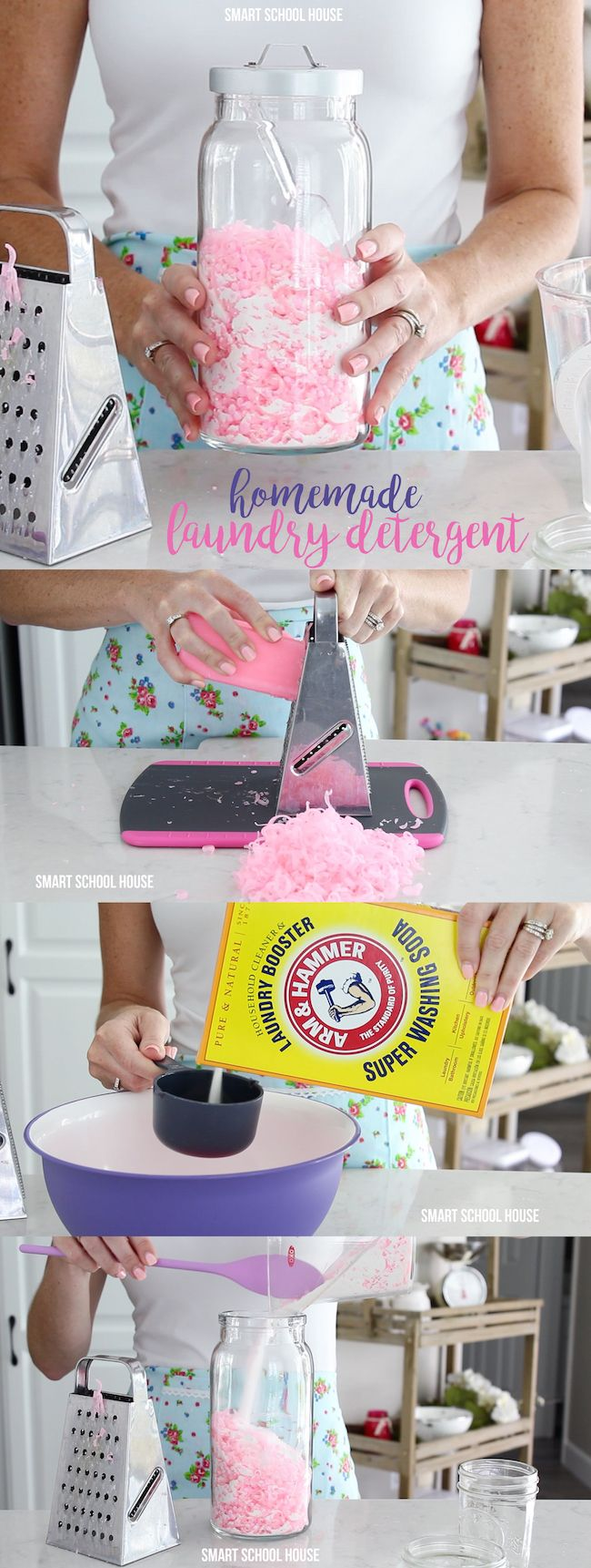With just 3 ingredients, you can make lots of laundry soap and save a lot of money in the process! With this recipe, featuring ARM & HAMMER™ Super Washing Soda, each load of laundry will cost about 20¢ or 15¢.