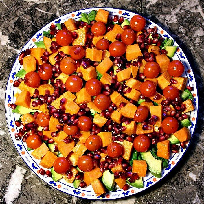 I finally got around to satisfying my craving for a salad.  Roast Sweet Potato, Avocado, Roast Tomatoes and Pomegranate Seeds.  Though I had this feeling that Rissie was staring at it and wishing it was lasagna.