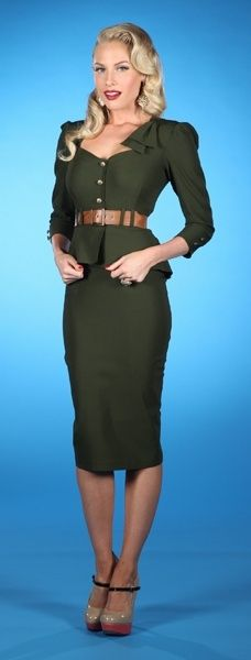 Military: Army Green, 40S Style, Clothing, Military Style, Cadete 03, Pinup, Pin Up, Green Dresses, Vintage Style