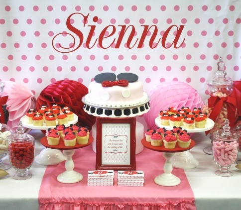 Minnie mouse themed dessert table by www.montresor.com.au: Entertainment Idea, 1St Birthday, Mouse Desserts, Baby Birthday, Tables Idea, Party Idea, Desserts Tables, Birthday Party, Desserts Buffets