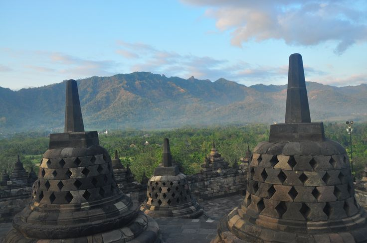 View from the top terrace of the temple of Borobudur - copyright architectureofbuddhism.com - read the travel diary at http://architectureofbuddhism.com/books/temples-borobudur-region-travel-diary-day-one/ #architecture #buddhism #indonesia