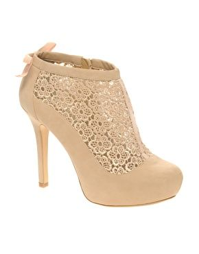 Nude lace booties