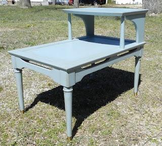 Pretty blue end table!