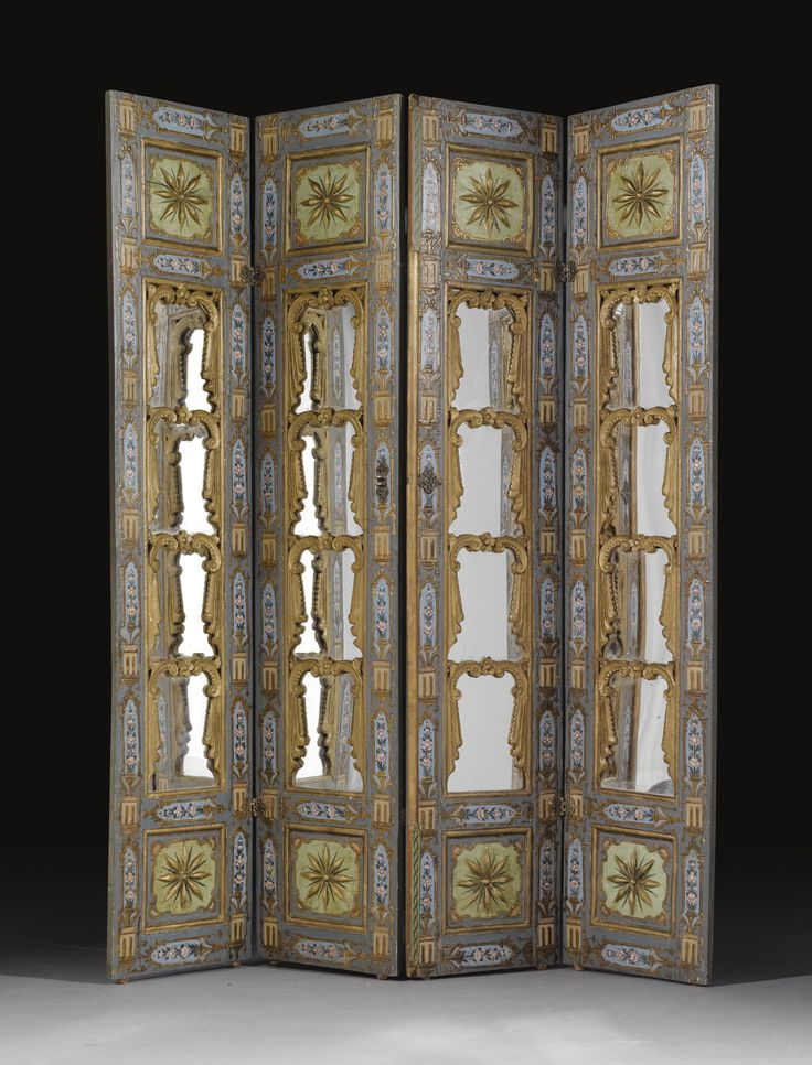 An Ottoman painted and mirrored wood screen, Turkey, late 18th- early 19th century.