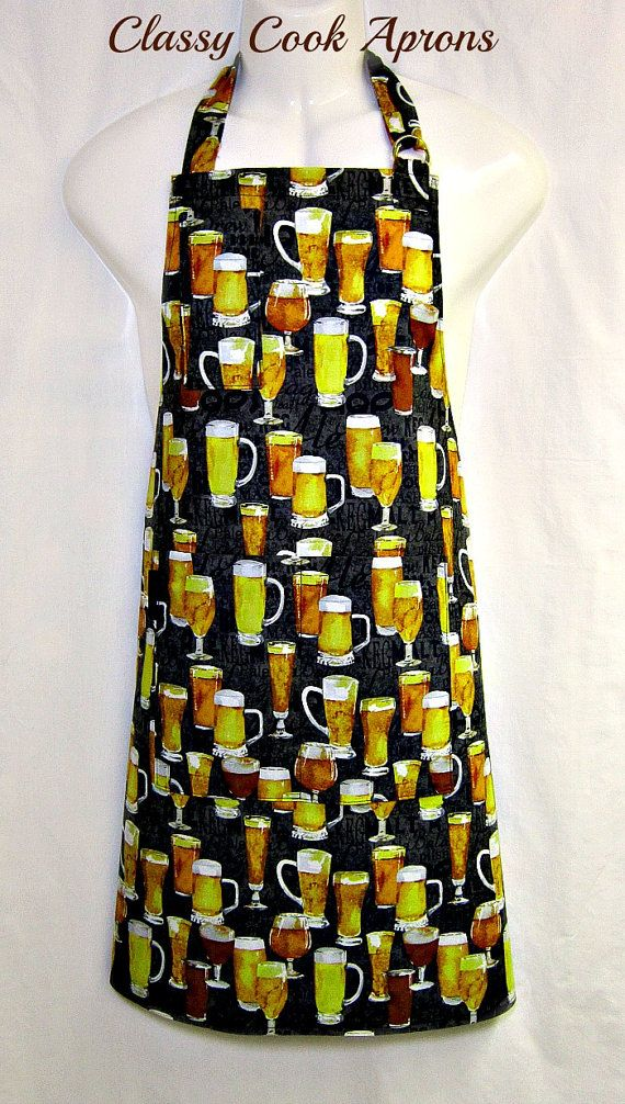 Apron Mans, BEER, 99 Glasses of Beer Heaven Apron, Bier Cerveza Brewsky, BBQ Grill Unique Kitchen Gift, by ClassyCookAprons, $35.50