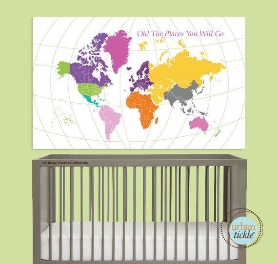 World Map Decal for Kids World Map Sticker 30X48 by UrbanTickle, $69.00