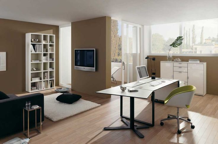 Simple Office Chair And Table with wooden floor and swivel cabinets also glass window
