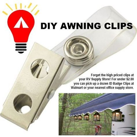Walmart or office supply badge clips. Pinner said 12 for $2.99 or so. Better than RV store clips. Great idea for hanging stuff to your awning when camping! #camping #outdoors #rv