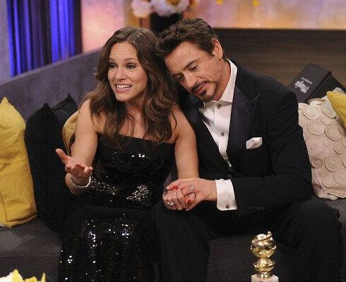 "Robert and Susan Downey backstage at the 2010 Golden Globe Awards, after he won Best Actor for ""Sherlock Holmes"""