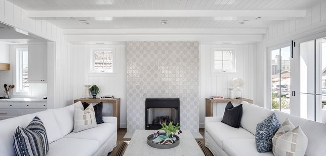 Living Room Fireplace Features A Custom Tile And Walls Are Clad In Tongue And Groove Paneling Painted In Dunn Edwards House Interior Home Interior Design Home
