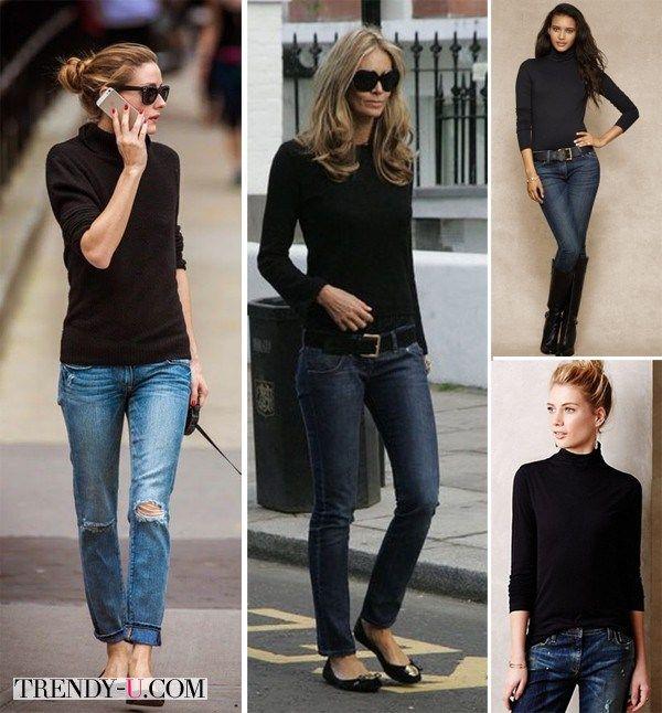 Черная водолазка в сочетании с джинсами