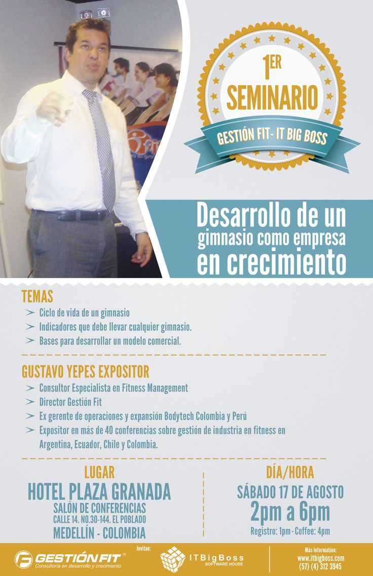Seminario de Gestión de Gimnasios en Medellín, Colombia | Gustavo Yepes | 17 de agosto