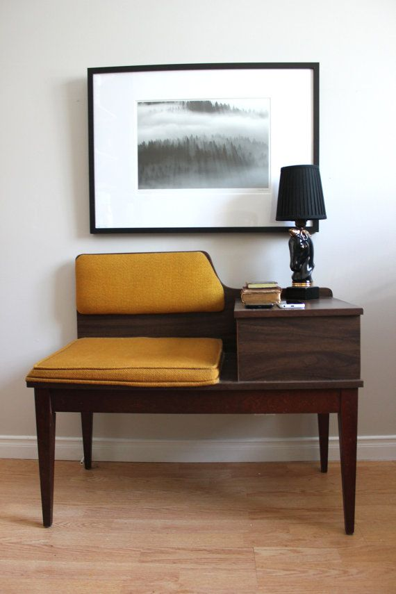 Retro Telephone Table // Vintage Antique Mid Century Modern Gossip Bench FEATURED ITEM // Entry Table // EntryWay Table // Yellow //