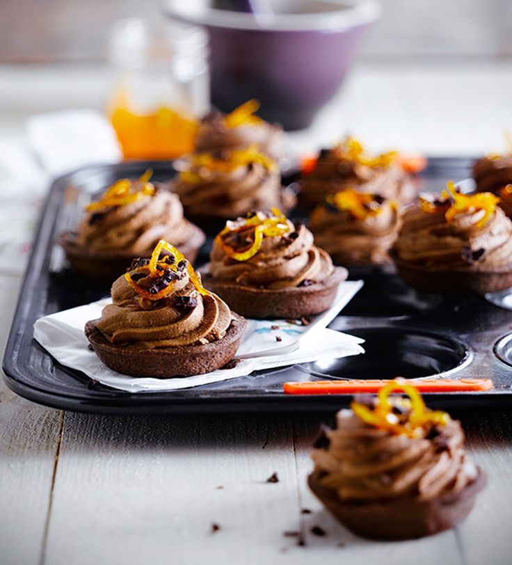 Chocolate Mousse Tarts with Candied Orange and Cocoa Bean Crunch