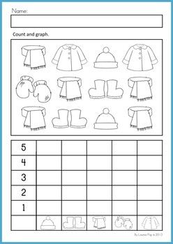Math Worksheets Activities - Winter (Beginning Skills). 43 pages. A page from the unit: Count and graph