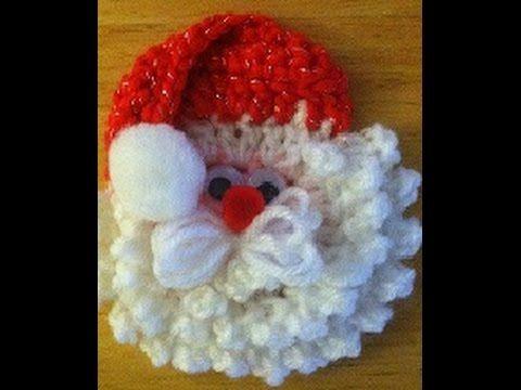 getlinkyoutube.com-Crochet santa face/head ornament tutorial