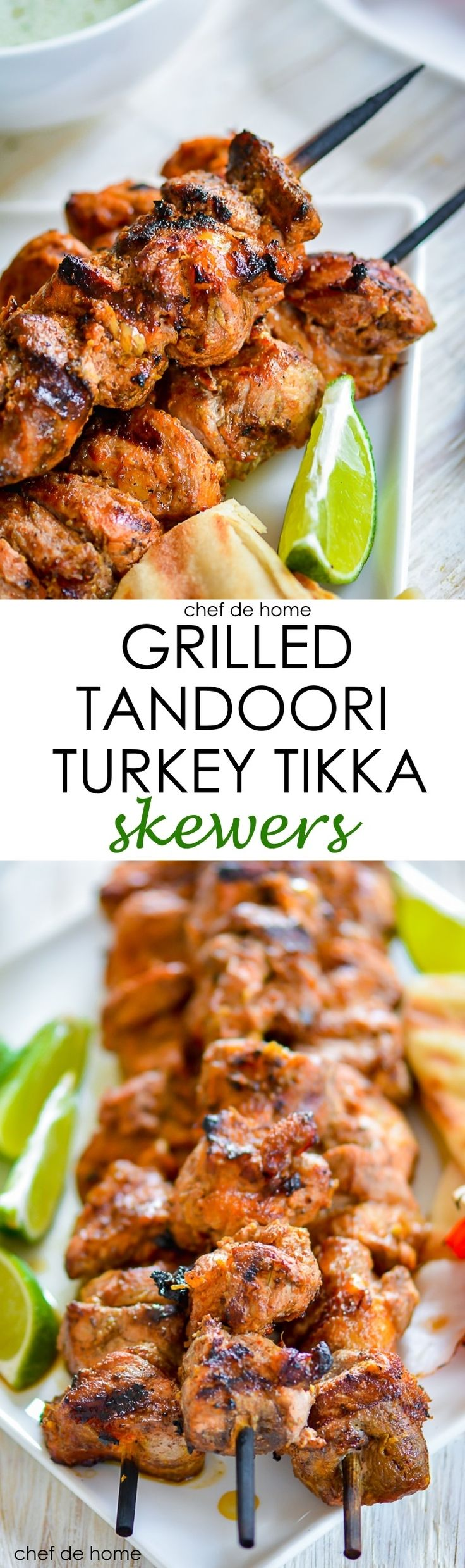Grilled Tandoori Turkey Tikka Skewers @ServeTurkey A re-take on classic Chicken Tikka with a delicious and lean protein - Turkey, served with side of cooling mint-yogurt sauce! #ad