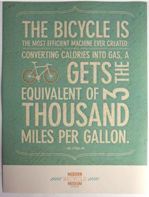 The bicycle is the most efficient machine ever created. Converting calories into gas, a bicycle gets the equivalent of 3 thousand miles per gallon.