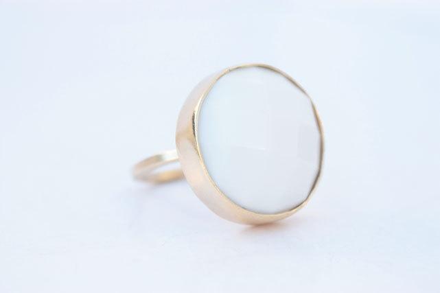 White gemstone ring - Bezel ring - Porcelain Stone - Adjustable size - UNIQUE - Handmade. $34.95, via Etsy.