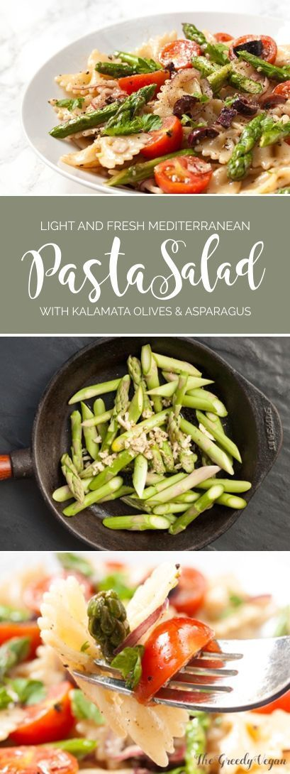 This light Mediterranean pasta salad is a lighter version and perfect for really hot days. It's served with sauteed asparagus and a lovely mustard dressing.