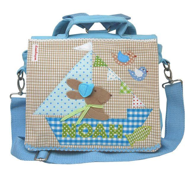 Kindergartentaschen - Kindergartenrucksack mit Namen- Ahoi, Hase!- blau - http://de.dawanda.com/product/93841631-kindergartenrucksack-mit-namen-ahoi-hase-blau