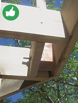 Use blocking and bolts to create a stronger railing than one with posts connected to rim joists that are nailed only to the end grain of the joists.