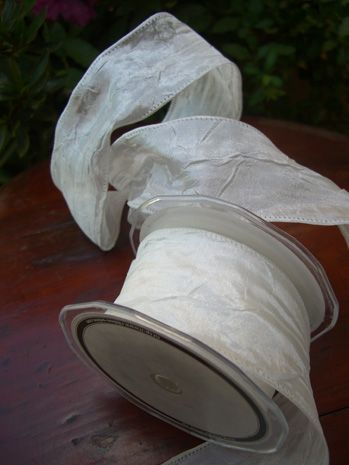 Ivory White Crinkled Satin Ribbon French Wired 2 in. Width 27 feet