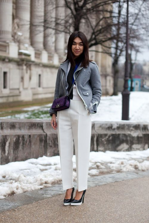 A gray moto gives a softer edge to white trousers and Stella McCartney heels
