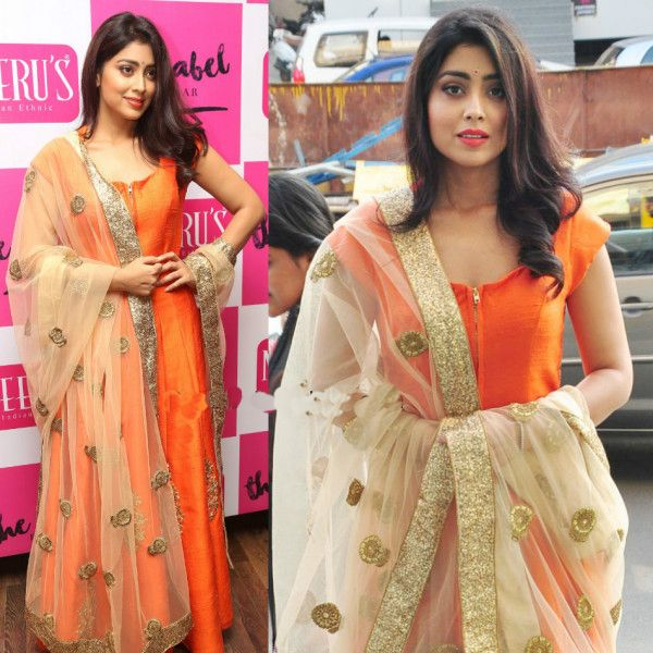 Shriya Saran in Neeru's Floor Length Anarkali Suit