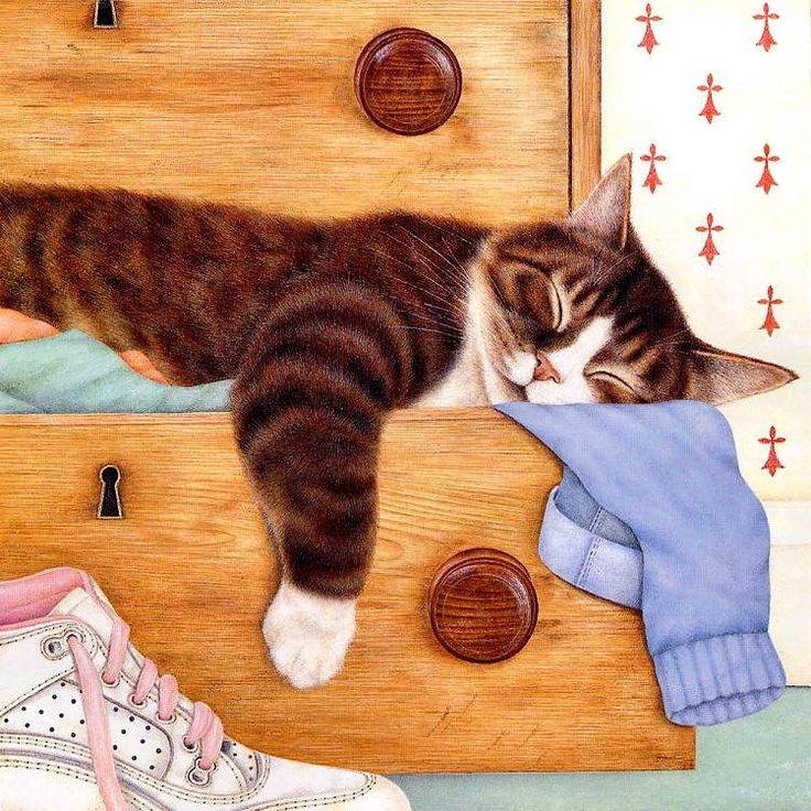 """""""Sleeping Cats"""" - paintings posted by draganescu on http://www.popkitten.com/"""