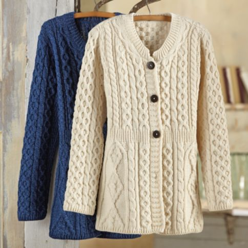 This flattering A-line cardigan is a contemporary take on classic Aran sweaters, those thick, textured knits that were inspired by fisherman sweaters and developed into an international symbol of Irish culture.