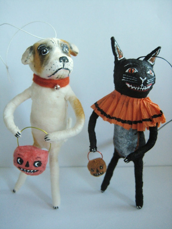 Vintage Inspired Spun Cotton Cat  Dog ornaments Maria Pahls