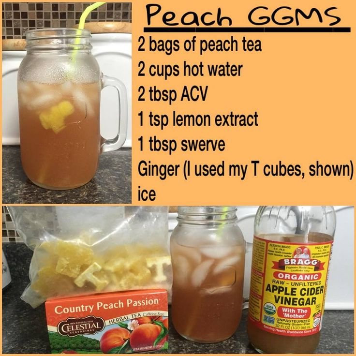 THM Peach GGMS   Steep tea bags in hot water (I run plain water thru the coffee pot) for 20 minutes. Once cooled, pour over ice (after removing the tea bags) and add remaining ingredients (use sweetener of your choice) ~ Stir Well!!
