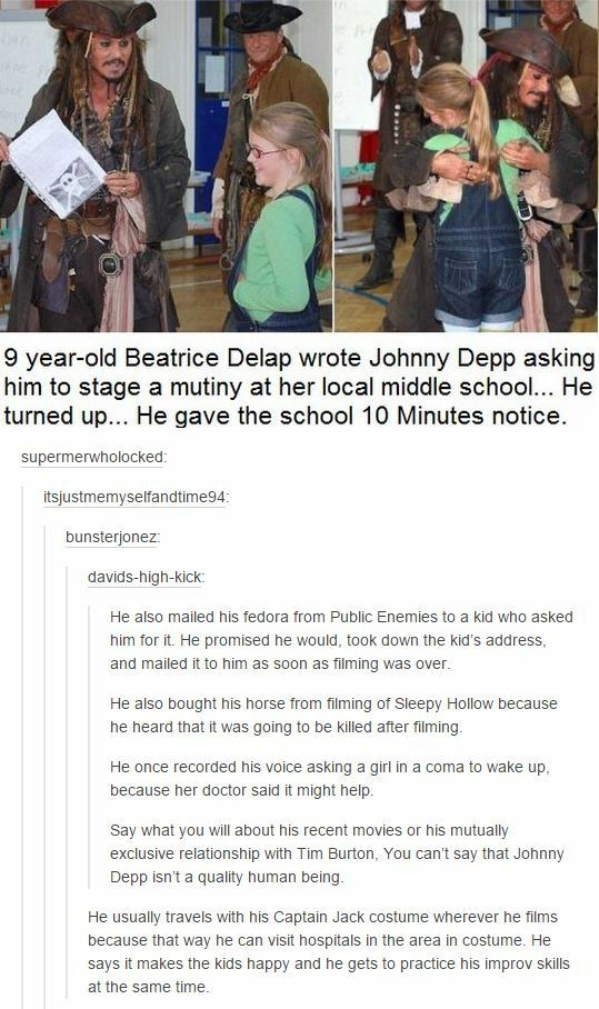 Okay I always say I don't like Johney Depp because of the whole Amber thing!! But how can u not love him when you hear things like this!!! Love always to CAPTAIN Jack Sparrow and his Hat