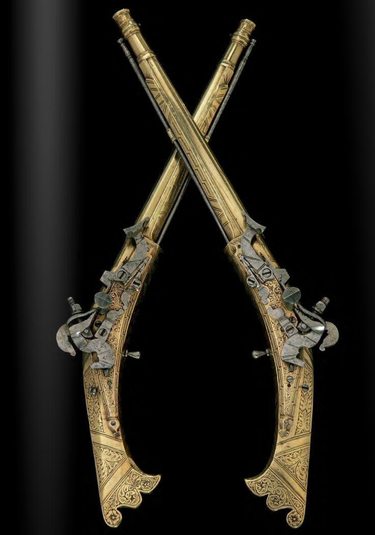 """A fine and exceptionally rare pair of Scottish brass-stocked snaphaunce pistols by the master """"AG"""" dated 1622 ."""