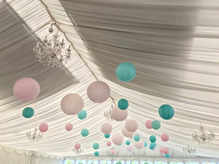 40 soft pink, teal paper lanterns