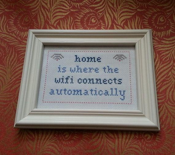 Home is Where the Wifi Connects Automatically cross stitch sampler PDF pattern