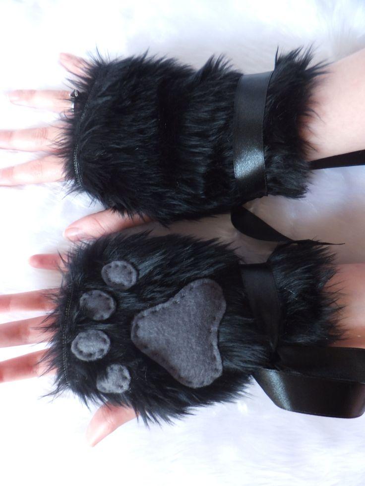 Cute Black & Grey Furry Wolf Fox Dog Bear Cat by KittenTreasures, £22.99