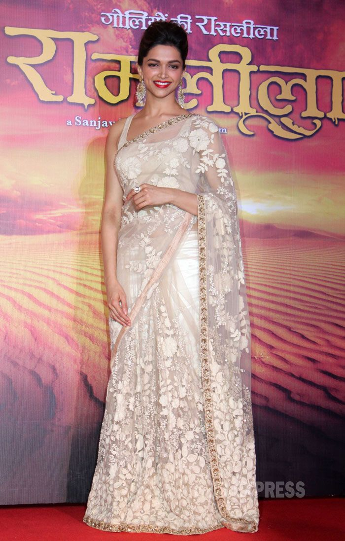 Deepika Padukone in a stunning Sabyasachi lace saree promoting her upcoming film Ram Leela